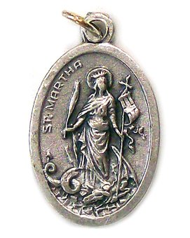 Saint Martha Oxidized Medal - MADE IN ITALY