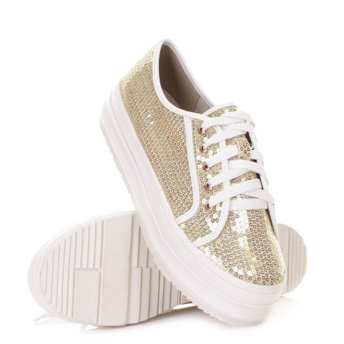 Womens Sequin Flatform Lace Up Trainers