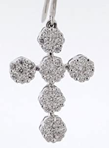 18K Gold / White - Designer Cross Earrings - 0.92ctw Diamonds
