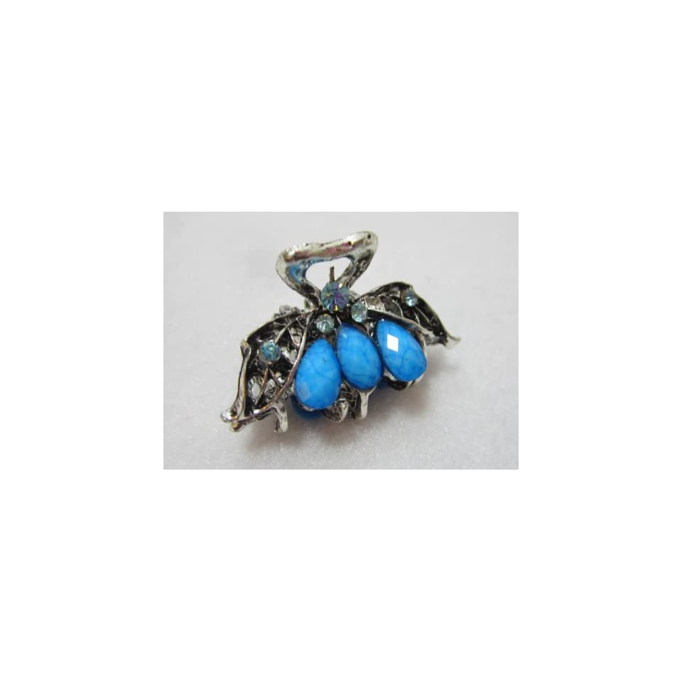 One Inch Silver Metal Clip Claw   Turquoise Blue, Limited. Beauty