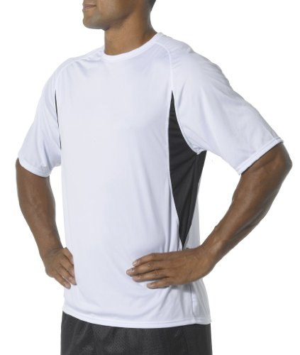 A4 Men's Cooling Performance Color Block Short Sleeve Tee, White/Black, Small