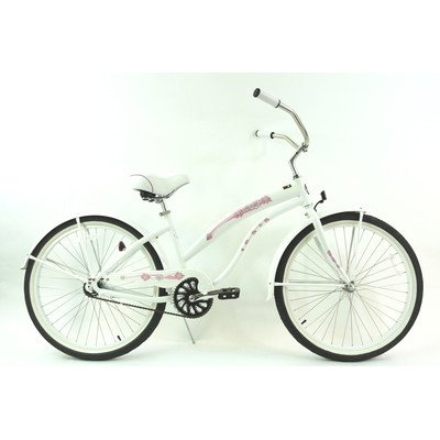 Women's Single Speed Beach Cruiser Color: Pearl White
