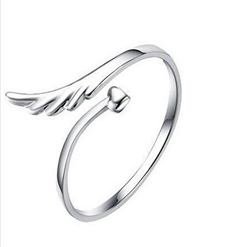 Tenworld Women Girls Gift Fashion Silver Plated Joint Joint Angel Wings Opening Ring Pattern New
