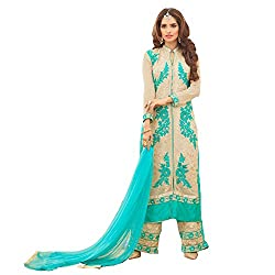 YOUR CHOICE Soft Net Blue Embroidered Women's Anarkali Suit PRI154