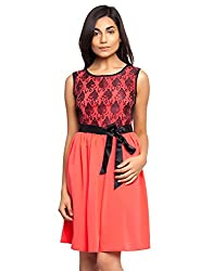 Carrot Color Dress With Black Lace And Satin Belt