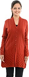 Apsley Women's Acrylic Cardigan (645 red_M, Red, M)