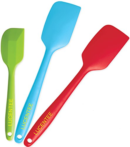 Lucentee 3-Piece Silicone Spatula Set - 2 Large & 1 Small Heat Resistant Cooking Utensils (Multicolor) (One Piece Spatula compare prices)