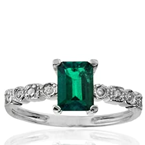 10k White Gold Created Emerald and Diamond Ring (0.06 cttw, I-J Color, I1 Clarity), Size 5