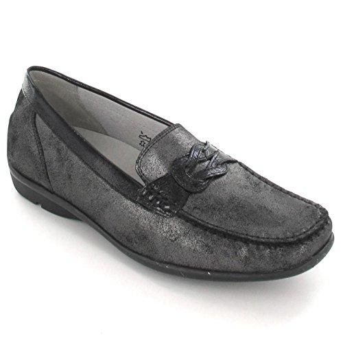 Waldläufer 431009 768 Damen Slipper - Schwarz Schuhe in H Weite , Farben:Schwarz;Größe:38;Weite:H