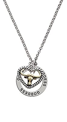 buy Gold Tone Longhorn In Rope Heart - Goddess Affirmation Necklace