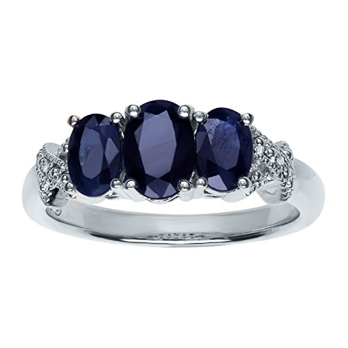 2 1/3 ct Natural Kanchanaburi Sapphire Trio Ring with Diamonds in Sterling Silver Size 7