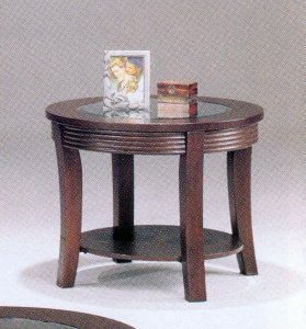 Cheap Cappuccino Finish, Round End Table w Glass (B0001JTTNE)
