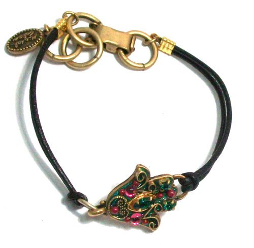 Designer Michal Golan 24k Gold Plated and Green Enamel Hamsa Hand Bracelet with Emerald Swarovski Crystals and Magenta Glass Beads on Black Leather Cord