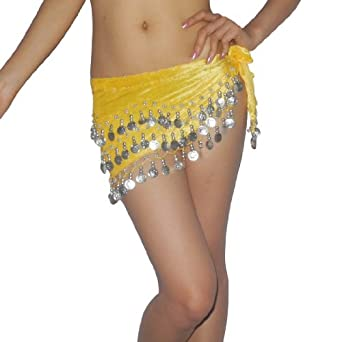 Ladies Sexy Exotic Belly Dance Hip Scarf with Coins & Beads Yellow