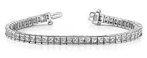 14k White Gold, Classic Princess Cut Diamond Tennis Bracelet, 18.67 ct. (Color: GH, Clarity: SI1)