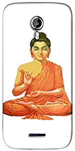 Snoogg Buddha for Peace White Designer Protective Back Case Cover For Micromax A117