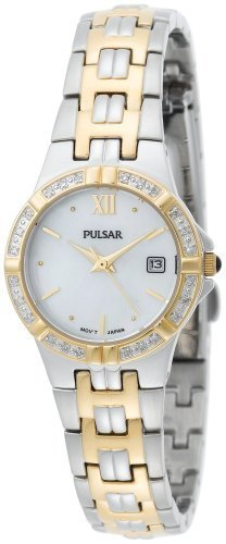 Pulsar Women's PXT702 Diamond Mother Of Pearl Two-Tone Watch