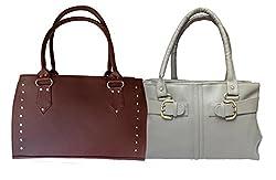 Arc HnH Women Handbag Combo Sporty Maroon + Buckle Grey