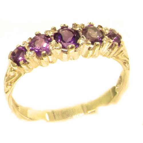 Antique Style Solid Yellow Gold Natural Amethyst Ring with English Hallmarks - Size 12 - Finger Sizes 5 to 12 Available - Suitable as an Anniversary ring, Engagement ring, Eternity ring, or Promise ring