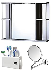 Cipla Plast CiplaPlast Combo of Galaxy Stainless Steel Bathroom Cabinet, Shaving Mirror & Tooth Brush Holder White