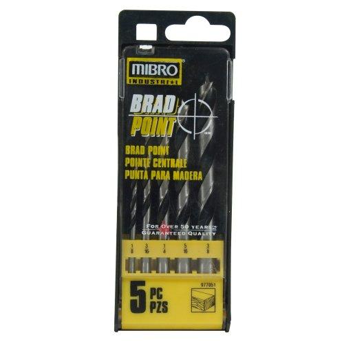 Mibro 977051 5-Piece 1/8-Inch to 3/8-Inch Brad Point Bit Set