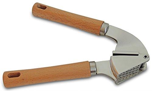 Lumont Garlic Press Crusher Premium Garlic Mincer With Wood Handle Stainless Steel Basket