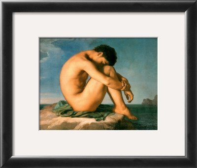 Young Male Nude, 1855 Framed Art Poster Print by Hippolyte Flandrin, 16x14