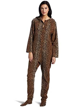 Casual Moments Women's One Piece Footed Pajama, Brown Animal, Medium