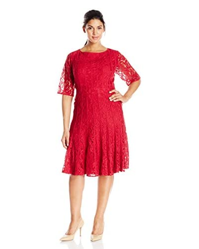 Adrianna Papell Plus Women's Fit-and-Flare Lace Dress