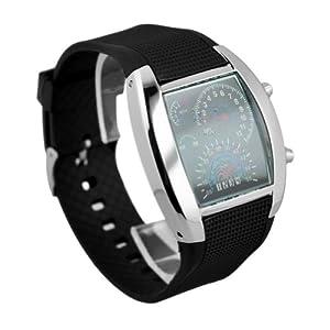RPM Turbo Flash LED Watch Brand NEW Gift Sports Car Meter Dial Men Blue Light/black Band/black