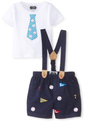 Mud Pie Baby-Boys Newborn Baseball Suspender And Short Set, Blue/White, 0-6 Months front-1039903