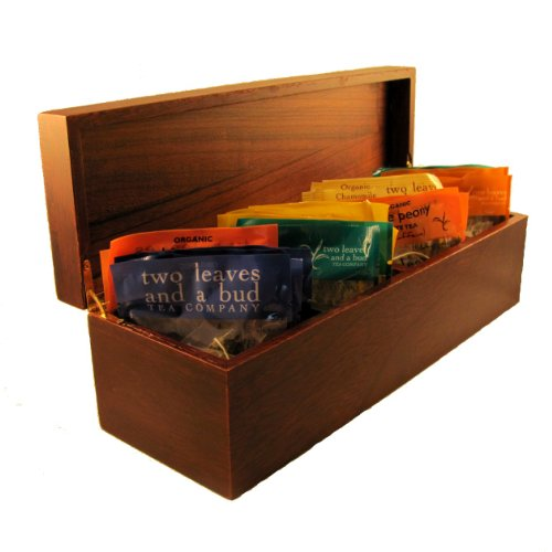 Organic, Whole Leaf, Wooden Tea Box, Sampler Includes 24 Tea Sachets in 6 Flavors: Two Leaves, Organic Chamomile, Organic Gen Mai Cha Green Tea, Organic White Peony White Tea, Organic Better Morning Tea, Organic Better Belly Blend Tea, Organic Better Rest