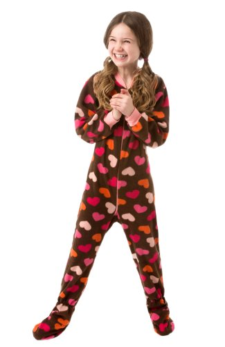 Big Feet Pjs Infant - Brown With Hearts (506) Fleece Footed Pajamas 12M - 4T (4T) front-190314