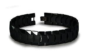 Tioneer Men's Jewelry Tungsten Black Link Bracelet 8.5