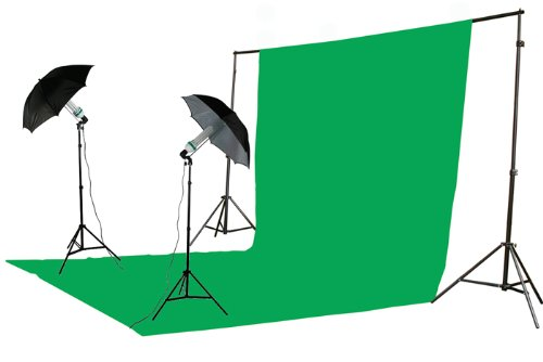 ePhoto 800 Watt Video Photography Studio Chromakey Muslins Background Support System Kit with Case byK151020SV