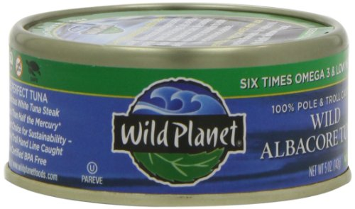 Wild Planet Wild Albacore Tuna, No Salt Added, 5-Ounce Cans (Pack of 6)
