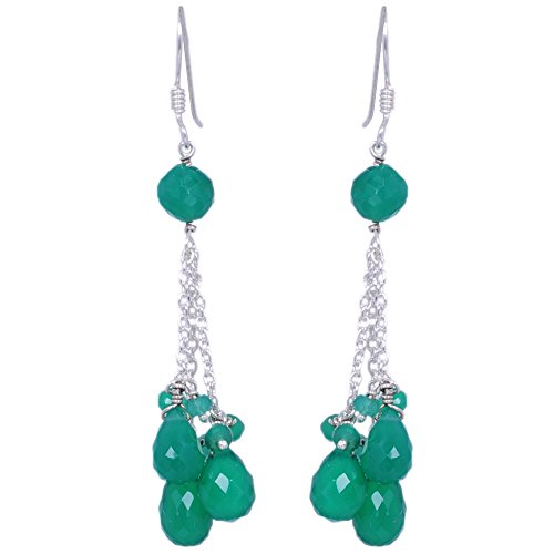 Green Onyx Gemstone Faceted Bead & Drop Earrings Made In .925 Solid Silver
