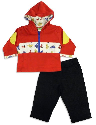 SnoPea - Baby Boys Long Sleeve Pant Set, Red, Black 25816-24Months