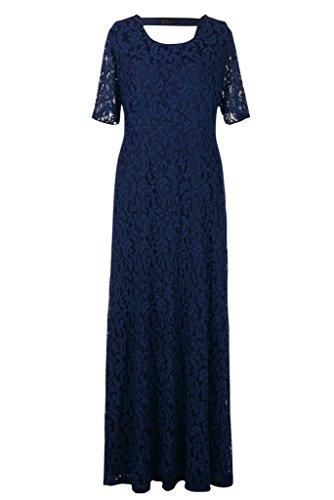 Nemidor® Women's Full Lace Plus Size Elegant Wedding Pary Maxi Dress Blue 18