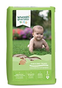 Seventh Generation Free and Clear Baby Diapers, Stage 1, 44 Count (Pack of 4)