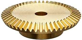 "Boston Gear G487Y-G Bevel Gear, 2:1 Ratio, 0.313"" Bore, 24 Pitch, 48 Teeth, 20 Degree Pressure Angle, Straight Bevel, Keyway, Brass"