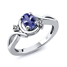 buy 0.82 Ct Oval Blue Tanzanite Aaaa White Diamond 14K White Gold Ring