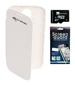 KolorEdge Flip Cover + Screen Protector + Micro 4GB Memory Card For Micromax Canvas2 A89 - White