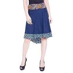 TUNTUK Women's Saniya Skirt Blue Cotton Skirt