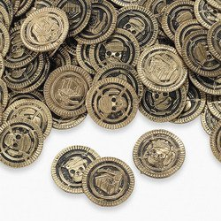 New Lot of 144 Toy Pirate Treasure Coins Skull Party Favors