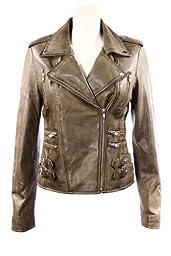 Smart Range Women\'s Mystique Washed Vintage Retro Rockstar Motorcycle Designer Leather Jacket 12 Green