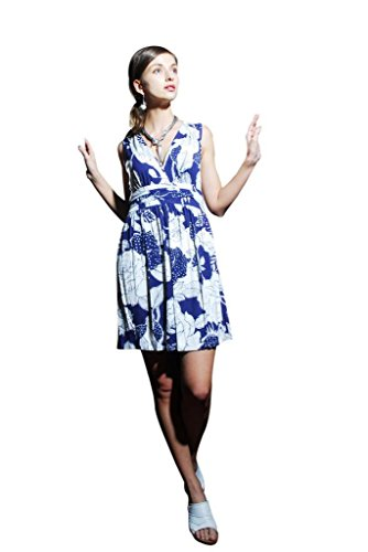 Chanceful Women's Vintage Overlap Backless Glitter Floral Printed Pleated Dress Medium Blue/White