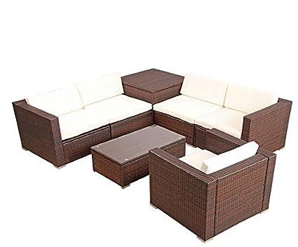 POLY RATTAN Lounge Gartenset BRAUN Sofa Garnitur Polyrattan Gartenmöbel inkl. Kissenbox