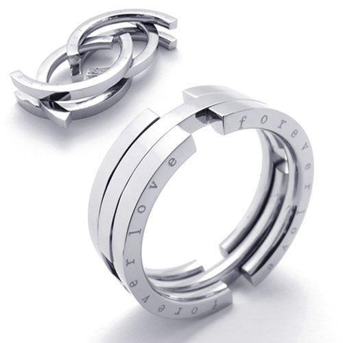 (キチシュウ)Aooazジュエリー メンズステンレスリング指輪 forever love 独特なデザイン シルバー 高品質のアクセサリー 日本サイズ17号(USサイズ8号)