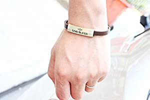 "Modern Fantasy the ""God Bless"" Engraved Bronze-coloured Fashion Style Lucky Identification Simple Leather Wrap Bracelet"